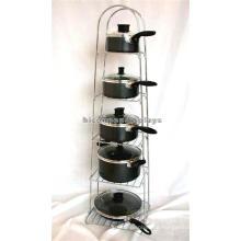 Standing Kitchren Produkte Einzelhandel 5-Layer Functional Metal Guss Iorn Pan Display Rack