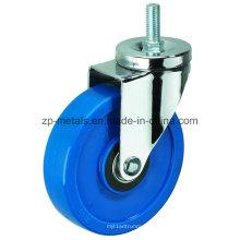 Roulettes en PVC à filetage bleu biaxial de taille moyenne