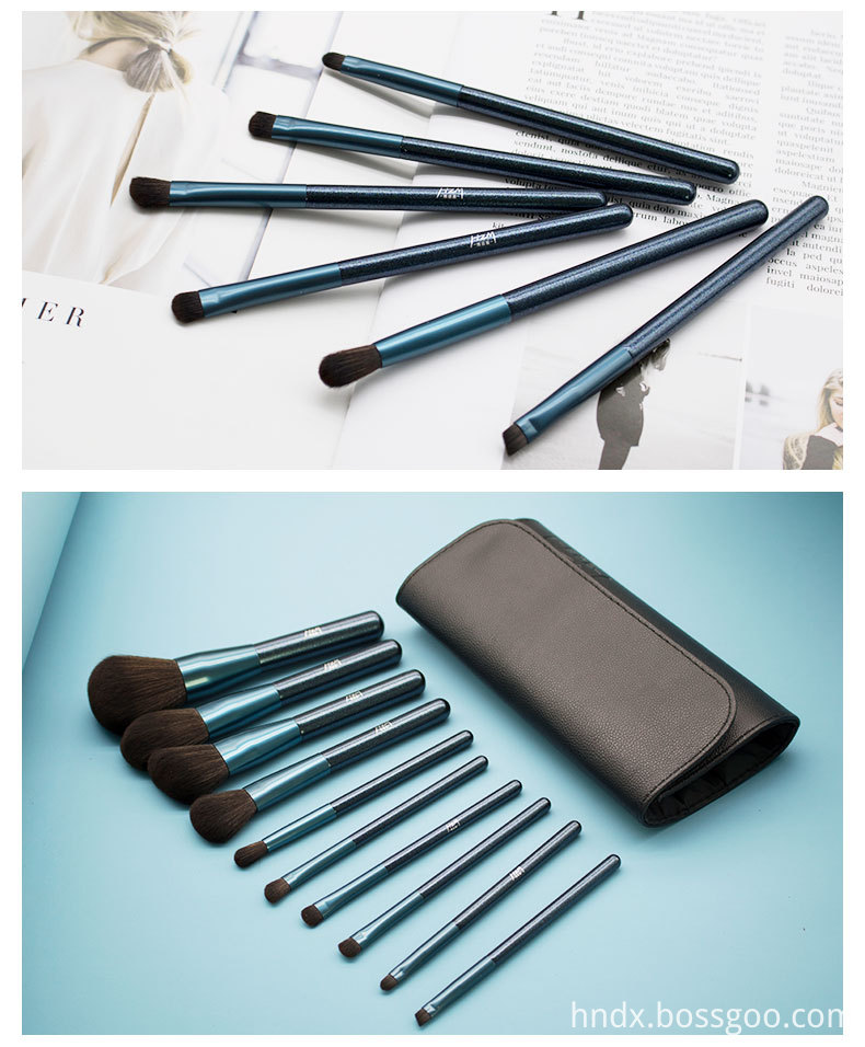 10 Pcs Blue Glitter Diamond Makeup Brushes Set 5