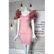 Женское розовое платье с V-образным вырезом и рукавами из органзы