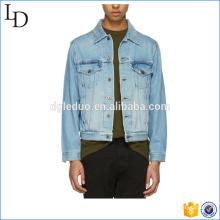 Veste 100% coton régulière en denim personnalisé hommes blouson blouson bleu