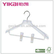 Plastic coat hanger with clips