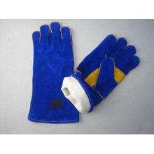 Gant de travail en cuir fendu bleu paume cousu - 6535