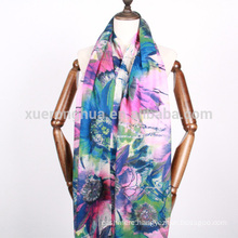 digital printed floral pattern water soluble wool scarf for fall