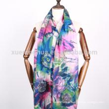 Padrão floral impresso floral lenço de lã solúvel em água para queda