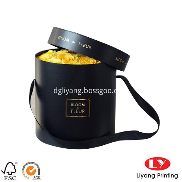 Flower box round black1