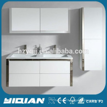 Luxury Design Wall Mounted Modern White Lacquer Double Sink Bath Cabinet