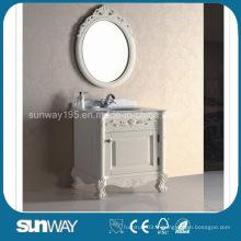 Cabinet de salle de bains en bois massif antique avec certificat (SW-8011)
