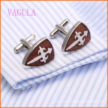 VAGULA Chemise française élégante en acier inoxydable boutons de manchette en bois rouge 128