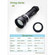 Hi-Max CREE XM-L2 U2 Scuba underwater 2*18650 battery photography Underwater Diving Video Light