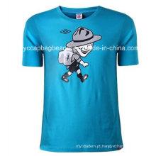 T-shirt do pescoço do pescoço dos homens 100% da forma do algodão, camisa de T