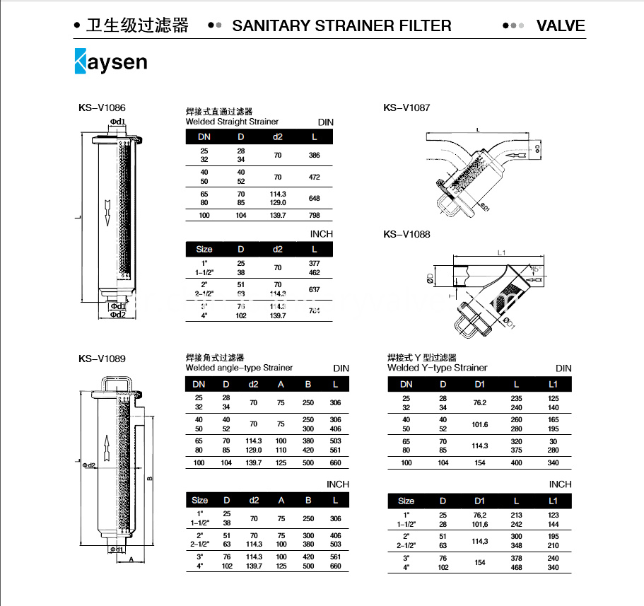 Stainless Steel Sanitary Filter Stainer Dimension size
