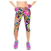 Womens cintura alta Fitness impresso estiramento recortado Leggings (50041)