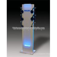 Soporte de suelo personalizado de venta al por menor de acrílico Iluminación de punto de venta de auriculares de pantalla