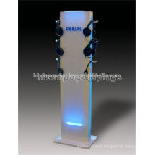 Custom Floor Standing Retail Store Acrylic Lighting Metal Point Of Sale Headphone Display Stand