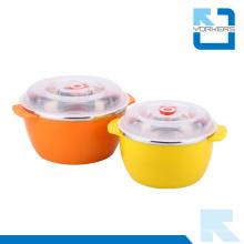 Tazón de fuente barato de la ensalada del acero inoxidable y del plástico con la tapa