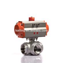 KLQD Brand Нержавеющая сталь 316 Шаровой кран Пневматический 3-ходовой шаровой клапан