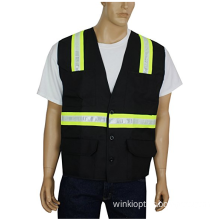 Hi Vis Reflective Safety Vest with 6 Pocket Pen Dividers Button Down Suitable for Worker