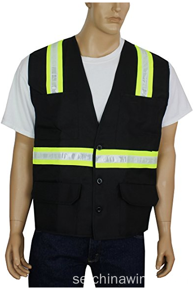 Hi Vis Reflective Safety Vest med 6 Pocket Pen Dividers Button Down Lämplig för arbetare
