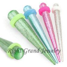 AB beschichtete Glitter Acryl Opal Ohrkegel Ohr Expander