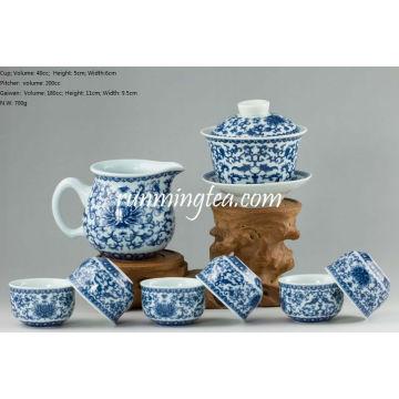 Crisântemo Flower Tea Set (um Gaiwan, um jarro + 6 xícaras)