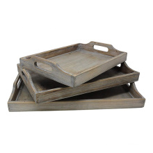 Vintage Rustic Torched Wood Country Nesting Breakfast Trays - White Washed Tray Set For Serving Breakfast, Coffee, Lunch, or Din