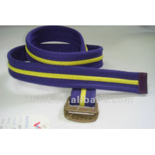 woven stripe belt with antique brass buckle