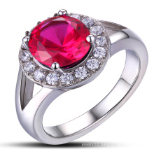 925 Sterling Silver Ruby Ring for Gift
