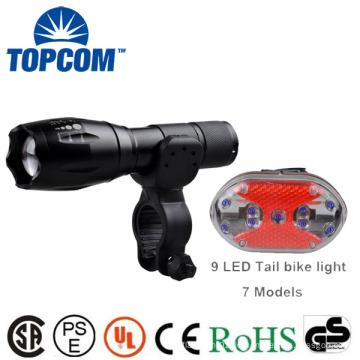 Wasserdichtes Glühen im Dunkeln G700 E17 Art Fahrrad Zoomable Latern Lampenlicht u. 9 LED hinteres helles Set