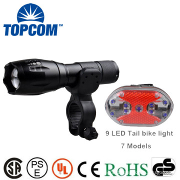 Waterproof Glow In The Dark G700 E17 Type Bicycle Zoomable Latern Lamp Light & 9 LED Rear Light Set