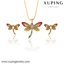 63815 мода тонкий позолоченный Бабочка имитация комплект ювелирных изделий нержавеющей стали для женщин