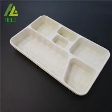 Plateau en plastique de qualité alimentaire PP avec 6 compartiments