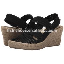 2016 Verão modelo mais recente Woven Material Upper Ladies Wedge Shoes