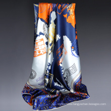 2017 Fashion trend luxury good quality digital print Eiffel Tower pattern 100% silk square scarf shawl large silk scarves