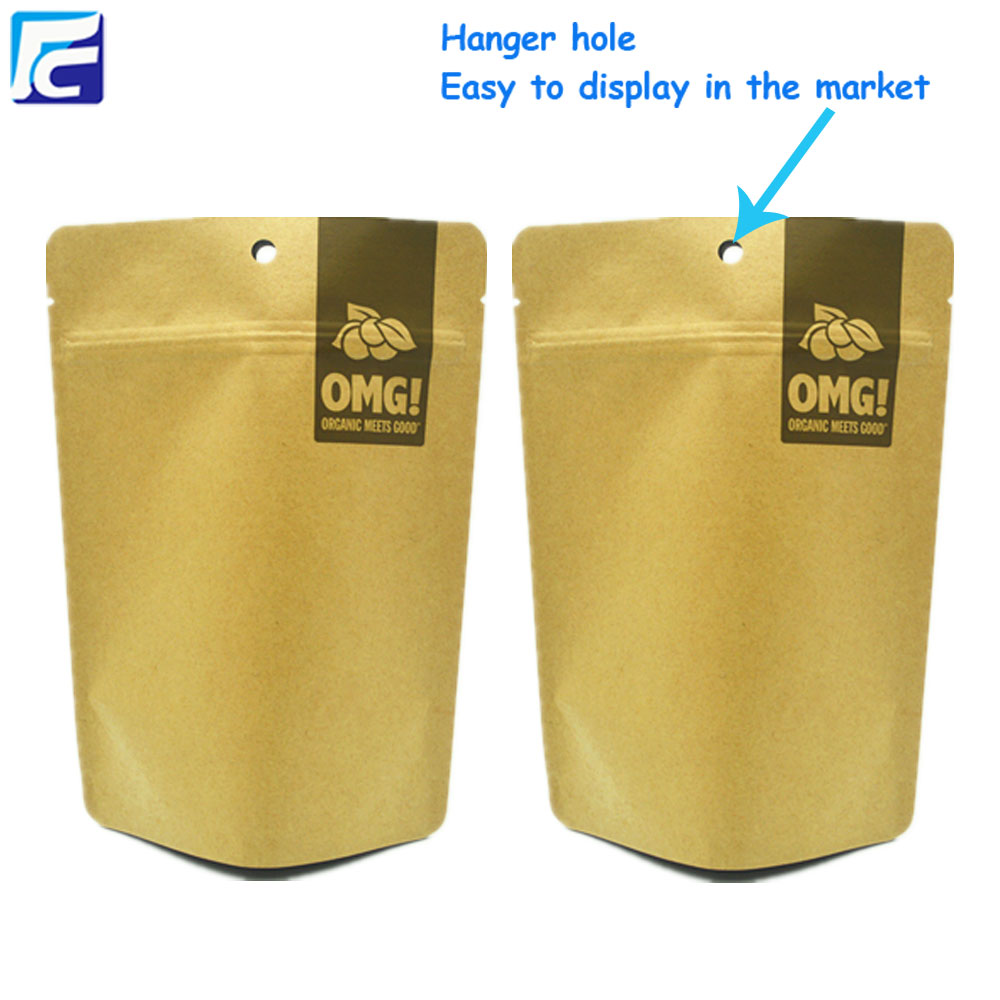 Customized Stand-Up kraft paper bags for milk chocolate