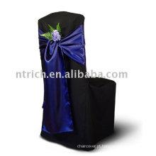 Faixas de capa de cadeira cetim, laços de cadeira, cadeira azul escuro sashes