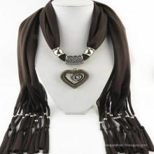Borlas del encanto elegante de las mujeres de la manera Rhinestone decorado colgante de la joyería bufanda con collar de la joyería