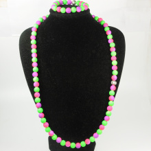 Purple and Green Beaded Jewelry Set
