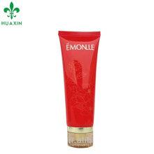 plástico cor vermelha cosmética facial limpeza creme tubo witj scrylic cap embalagem