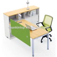 Usado escritório único estação de trabalho de madeira de pêssego e estofados brancos quentes, Fábrica de móveis de escritório (JO-4049-1)