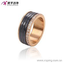 Anillo de dedo redondo de cerámica de la joyería cristalina del acero inoxidable de la última moda CZ-13740