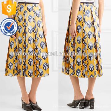 Nueva moda plisada de seda-sarga Midi Daily falda DEM / DOM Fabricación al por mayor de moda mujeres ropa (TA5001S)