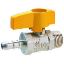 J2005 латунный газовый шаровой кран, латунный шаровой кран pn25, хромированный / никелированный, желтая рукоятка