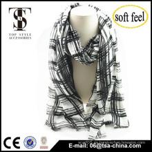 2015 diseño de moda para los hombres y las mujeres blancos negro print checked100% bufanda de acrílico delgada chal de gran tamaño
