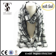 Conception à la mode 2015 pour hommes et femmes Echarpe blanche imprimée noir 100% écharpe acrylique manteau mince oversize