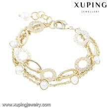 74433 moda elegante 14k banhado a ouro imitação jóias pulseira com pérolas