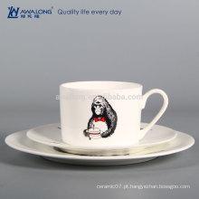 Design Personalizado De Forma Redonda Porcelana Fine Set Talheres, Porcelana Dinner Plates E Cup