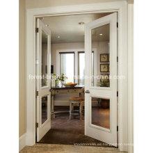 Puerta de vidrio transparente blanco doble cara con bisagras