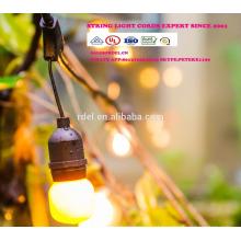 15M impermeável 15 soquetes de iluminação da corda de grau comercial E27 E27 Holiday diodo emissor de luz da corda SLT-190
