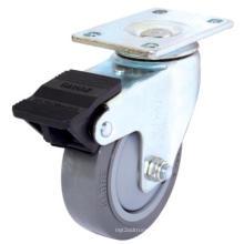 Swivel PU Caster with Dual Brake (Gray) (Flat Surface)
